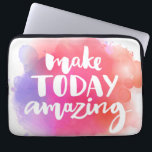 "Make Today Amazing Computer Sleeve<br><div class=""desc"">Make today amazing. Inspirational quote at colorful watercolor splash background,  custom lettering for posters,  t-shirts and cards. Vector brush calligraphy.  