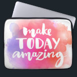 """Make Today Amazing Computer Sleeve<br><div class=""""desc"""">Make today amazing. Inspirational quote at colorful watercolor splash background,  custom lettering for posters,  t-shirts and cards. Vector brush calligraphy.  