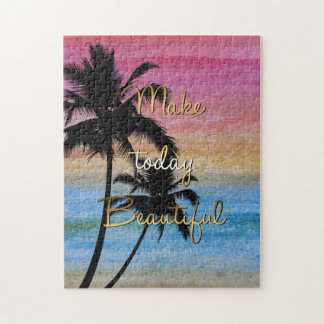 """""""Make today beautiful"""" gold quote Puzzle"""