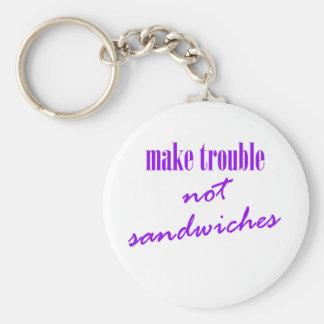 Make trouble, not sandwiches basic round button keychain