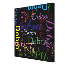 make typographic patterned name canvas print
