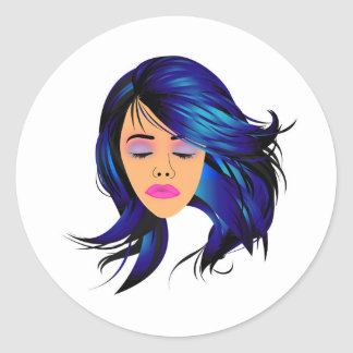 Make up and hair graphic- Lady with a pout Classic Round Sticker