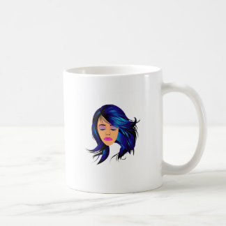 Make up and hair graphic- Lady with a pout Coffee Mug