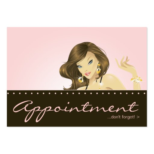 Make up artist appointment card pretty pink woman large for Business cards for women