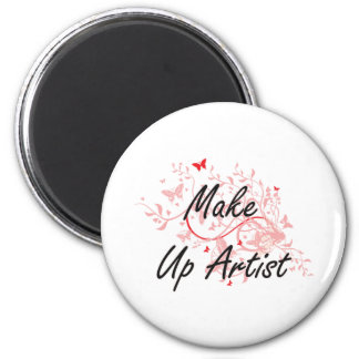 Make Up Artist Artistic Job Design with Butterflie 2 Inch Round Magnet