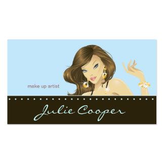 Make up Artist Business Card Blue Woman