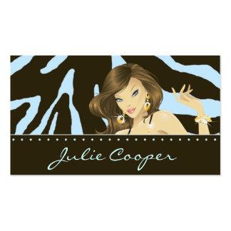 Make up Artist Business Card Blue Woman Zebra