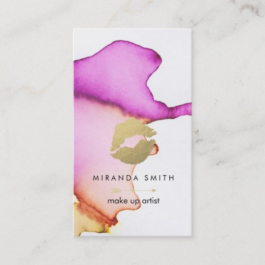 make up artist business card chic watercolor - Artist Business Card