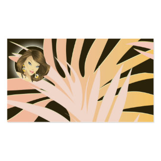 Make up Artist Business Card Pink Woman Leaves
