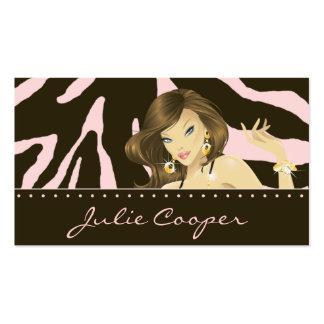 Make up Artist Business Card Pink Woman Zebra
