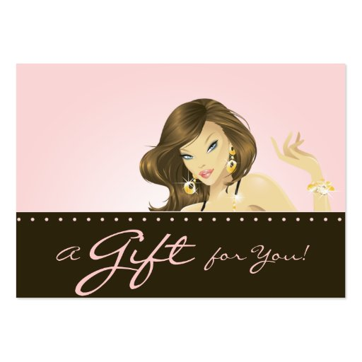 Make up Artist Gift Card Pretty Pink Woman Business Card Template