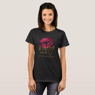 Make Up Artist Hot Pink Glitter Lips T-Shirt