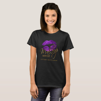Make Up Artist Purple Glitter Lips T-Shirt