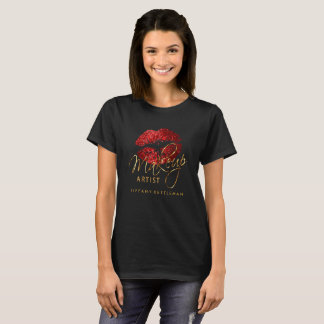 Make Up Artist Red Glitter Lips T-Shirt