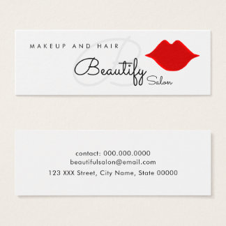 make-up / beautify salon monogram with red lips mini business card
