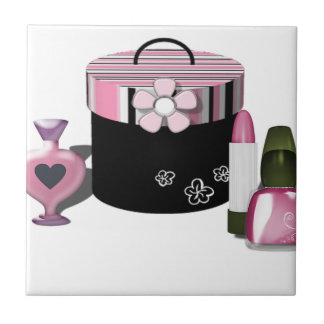 Make Up Cosmetics Girl Small Square Tile
