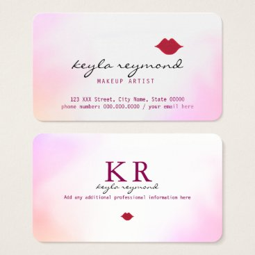 Professional Business make-up makeup soft watercolor   red lips business card