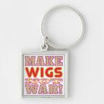 Make Wigs v2 Silver-Colored Square Keychain