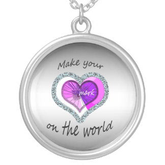 Make Your Mark on the World Heart Silver Plated Necklace