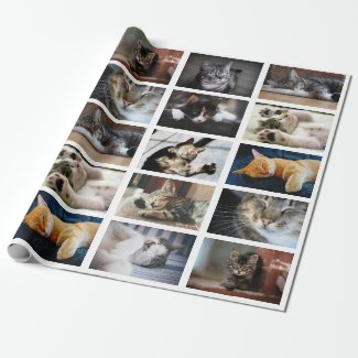 Make Your Own 10 Photo Collage on White Wrapping Paper
