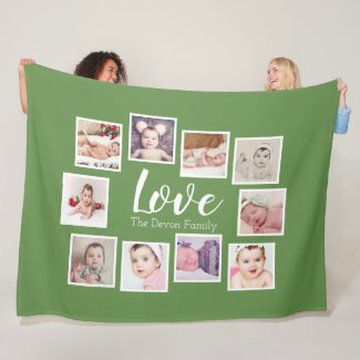 Make Your Own 10 Photo Collage Personalized Fleece Blanket