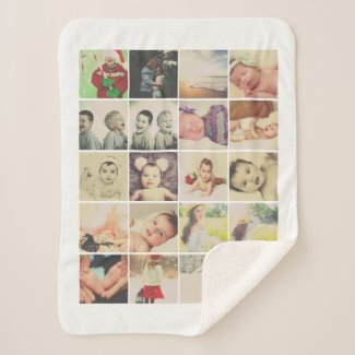 Make Your Own 20 Photo Collage Personalized Sherpa Blanket
