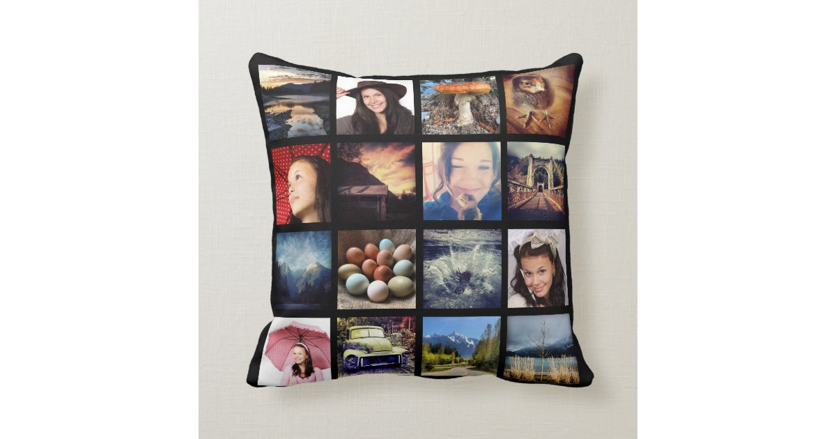 make your own 32 instagram photo collage throw pillow | zazzle Make Your Own Throw Pillows