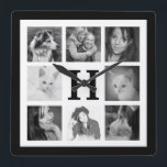 """Make Your Own 8 Instagram Photos with Monogram Square Wall Clock<br><div class=""""desc"""">Celebrate the people, places and things that are uniquely you with this fun, designer wall clock created with eight of your favorite family photos. Light or bright images suggested so you can see the hands. Pics will be automatically resized and cropped to fit and fill the template areas but it...</div>"""