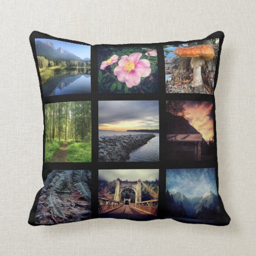 Make Your Own 9 Instagram Photo Collage Throw Pillow