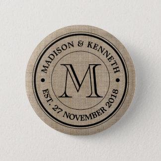 Make Your Own Burlap Retro Logo Monogram Button