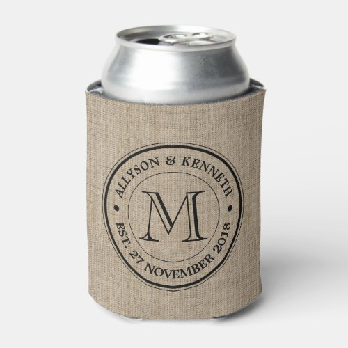 Make Your Own Burlap Retro Logo Monogram Can Cooler