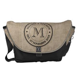 Make Your Own Burlap Retro Logo Monogram Courier Bag
