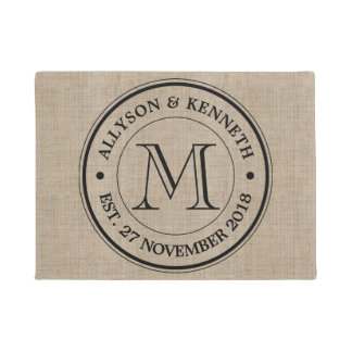 Make Your Own Burlap Retro Logo Monogram Doormat