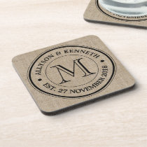 Make Your Own Burlap Retro Logo Monogram Drink Coaster