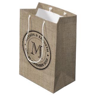 Make Your Own Burlap Retro Logo Monogram Medium Gift Bag