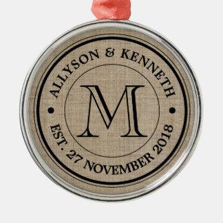 Make Your Own Burlap Retro Logo Monogram Metal Ornament