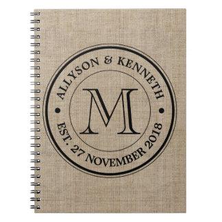 Make Your Own Burlap Retro Logo Monogram Spiral Notebook