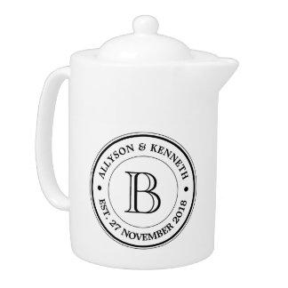 Make Your Own Burlap Retro Logo Monogram Teapot