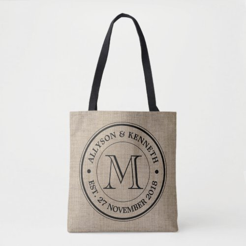 Make Your Own Burlap Retro Logo Monogram Tote Bag