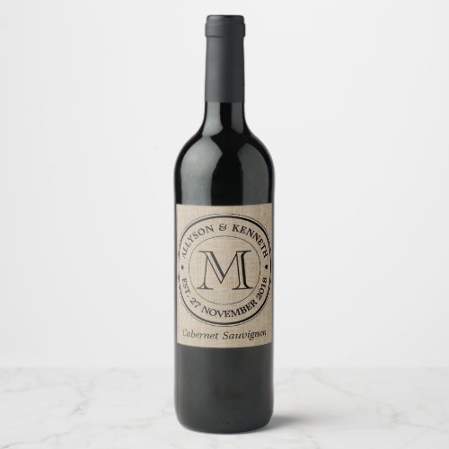 Make Your Own Burlap Retro Logo Monogram Wine Label