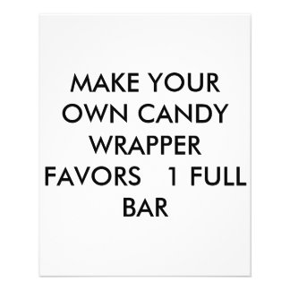 "MAKE YOUR OWN CANDY WRAPPER FAVORS   ONE FULL BAR 4.5"" X 5.6"" FLYER"