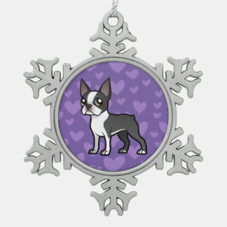 Make Your Own Cartoon Pet Snowflake Pewter Christmas Ornament