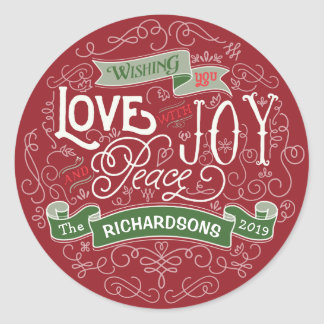 Make Your Own Christmas Typography Custom Banner Classic Round Sticker