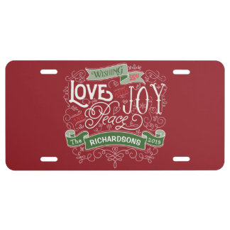 Make Your Own Christmas Typography Custom Banner License Plate