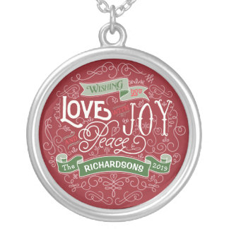 Make Your Own Christmas Typography Custom Banner Silver Plated Necklace