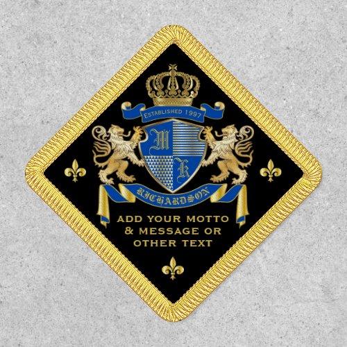 Make Your Own Coat of Arms Blue Gold Lion Emblem Patch