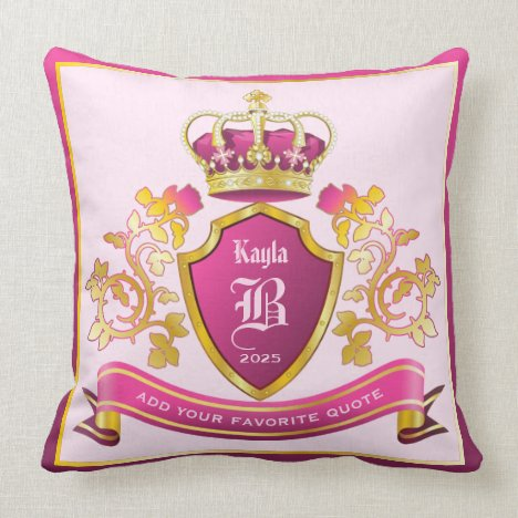 Make Your Own Coat of Arms Gold Crown Pearls Pink Throw Pillow