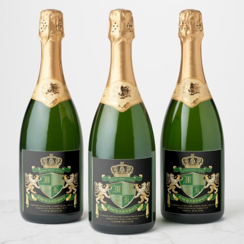 Make Your Own Coat of Arms Green Gold Lion Emblem Champagne Label