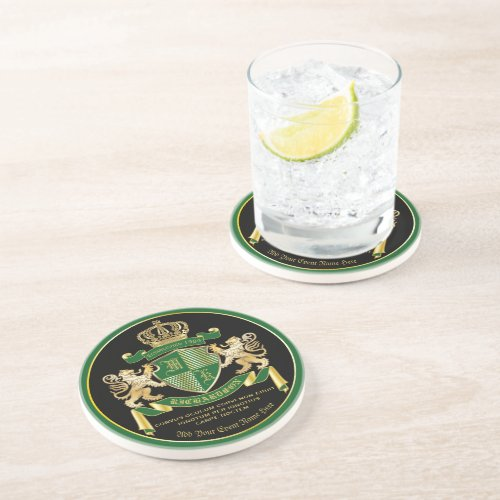 Make Your Own Coat of Arms Green Gold Lion Emblem Coaster