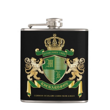 Make Your Own Coat of Arms Green Gold Lion Emblem Flask